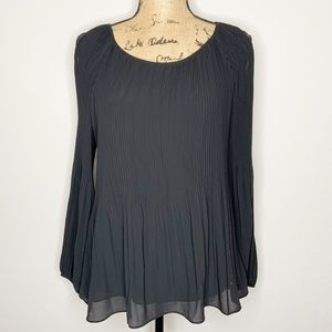 Kate & Mallory Black Pleated Cold Shoulder Blouse